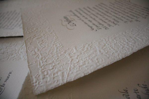 Carta a mano in cotone con cornice